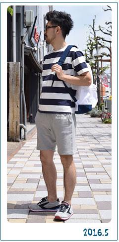 ブルーブルー 『ピグメントボーダー ポケットTシャツ』コーディネート