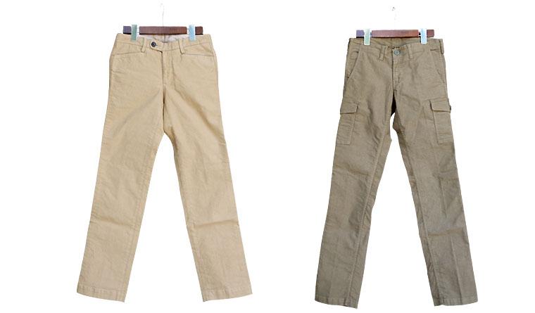 ジャーマンクロス ストレッチトラウザースとジャーマンクロス ストレッチ6ポケットパンツの全身写真