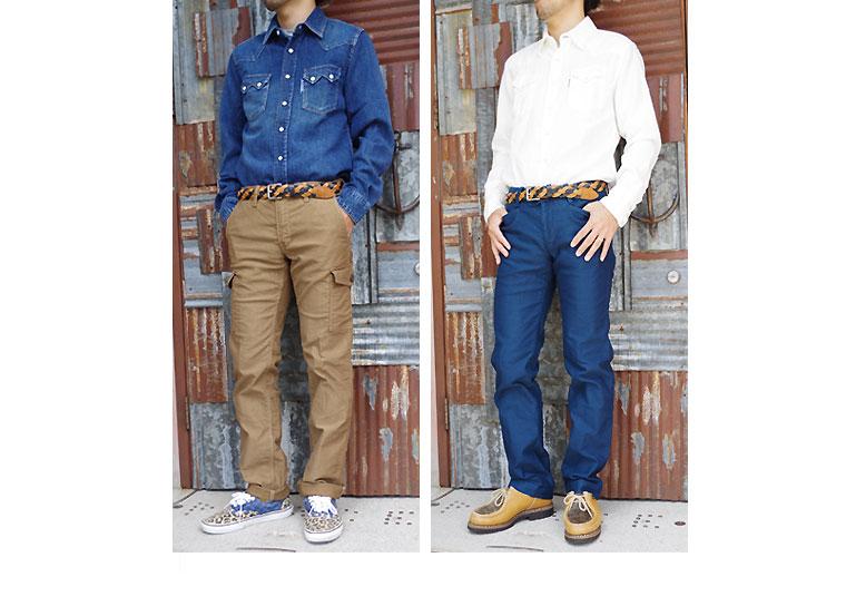 ジャーマンクロス ストレッチトラウザースとジャーマンクロス ストレッチ6ポケットパンツのスタッフ着用画像