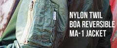 ハリウッドランチマーケット ナイロンツイル ボアリバーシブルMA1ジャケット