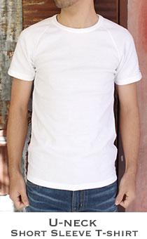 ストレッチフライス メンズ Uネック半袖Tシャツ