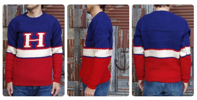 Hロゴ マルチストライプネックセーター