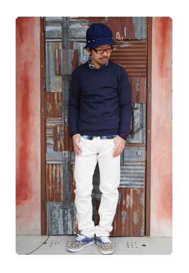 【メンズ】ハリウッドランチマーケット(HOLLYWOOD RANCH MARKET)2016年夏モデル ソフトエンブロイダリークルーネックセーター  700053328のコーディネイト画