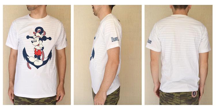 【メンズ・レディース】セイリン・ディズニー(SEILIN・DISNEY )2016年春夏モデル BLUEBLUE ANCHOR MICKEYショートスリーブTシャツ 700055905の前横後ろ画像2