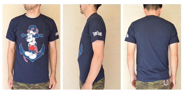 【メンズ・レディース】セイリン・ディズニー(SEILIN・DISNEY )2016年春夏モデル BLUEBLUE ANCHOR MICKEYショートスリーブTシャツ 700055905の前横後ろ画像1