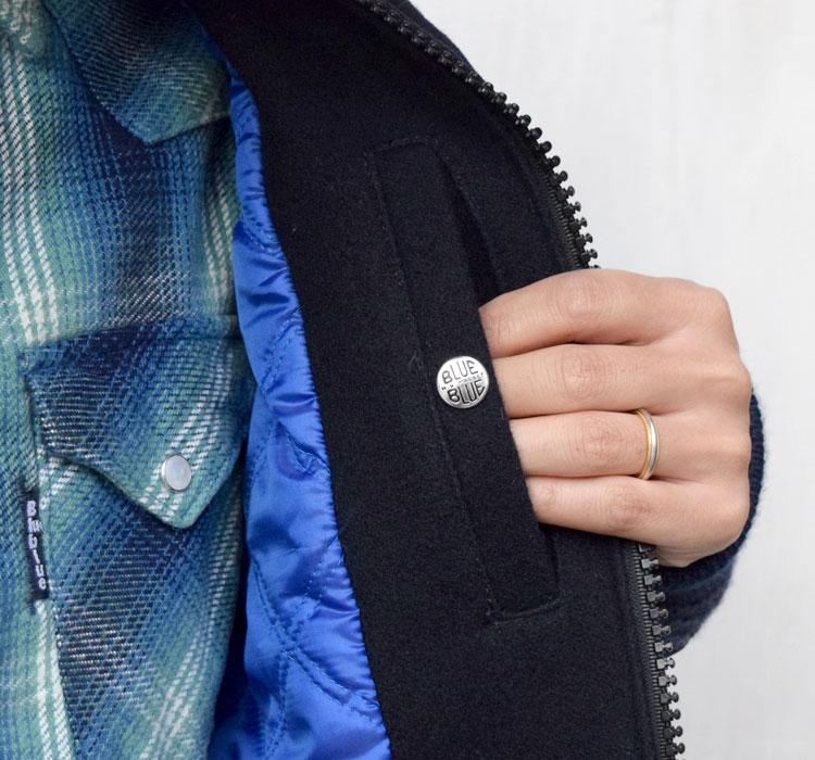【メンズ】ブルーブルー(BLUE BLUE)2016年秋冬モデル インディゴメルトン レザースリーブスタジャン 700057535のディテール詳細画像6