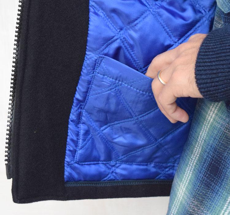 【メンズ】ブルーブルー(BLUE BLUE)2016年秋冬モデル インディゴメルトン レザースリーブスタジャン 700057535のディテール詳細画像7