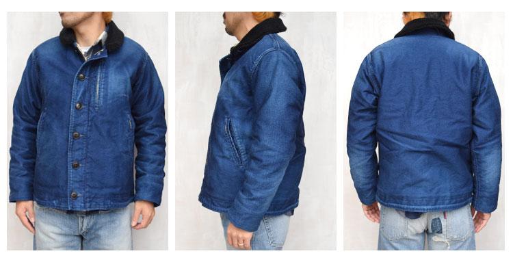 【メンズ】ブルーブルー(BLUE BLUE)2016年秋冬モデル インディゴジャーマンクロス ヴィンテージフェードジャケット 700057566の前横後ろ画像