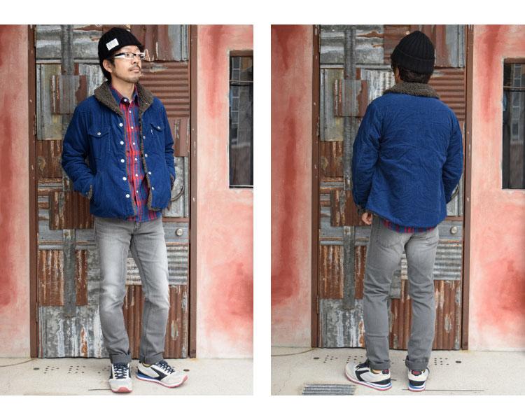 【メンズ】ブルーブルー(BLUE BLUE)2016年秋冬モデル インディゴコーデュロイボア ライニングジャケット 700057580のコーディネート着用例画像