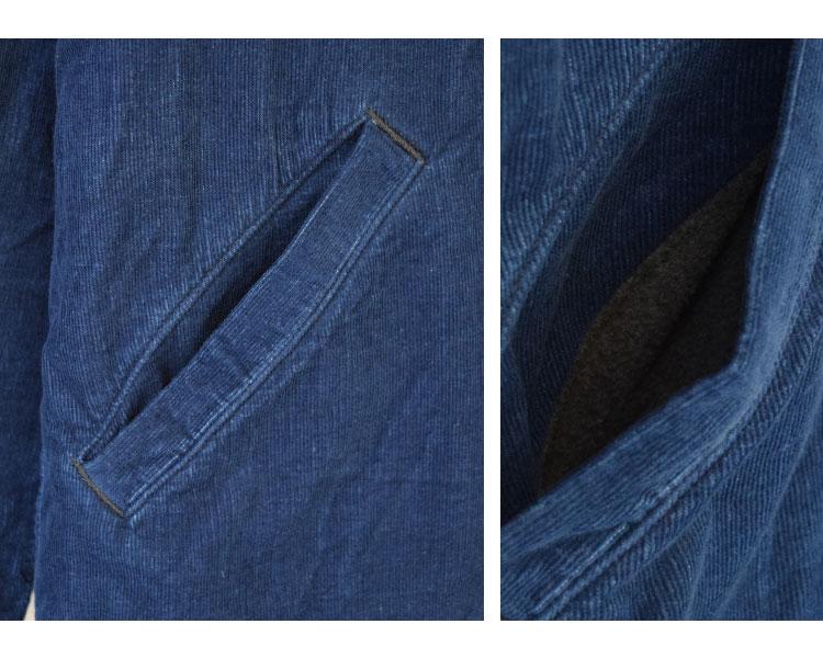 【メンズ】ブルーブルー(BLUE BLUE)2016年秋冬モデル インディゴコーデュロイボア ライニングジャケット 700057580のディテール詳細画像4