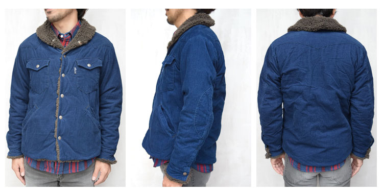 【メンズ】ブルーブルー(BLUE BLUE)2016年秋冬モデル インディゴコーデュロイボア ライニングジャケット 700057580の前横後ろ画像