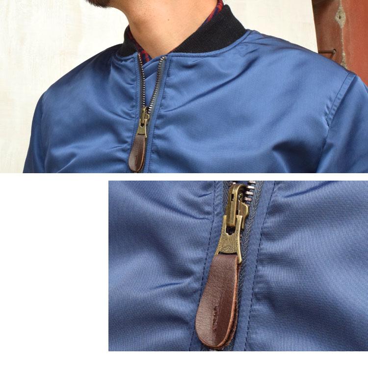 【メンズ】ブルーブルー(BLUE BLUE)2016年秋冬モデル インディゴナイロン MA1ジャケット 700059002のディテール詳細画像1