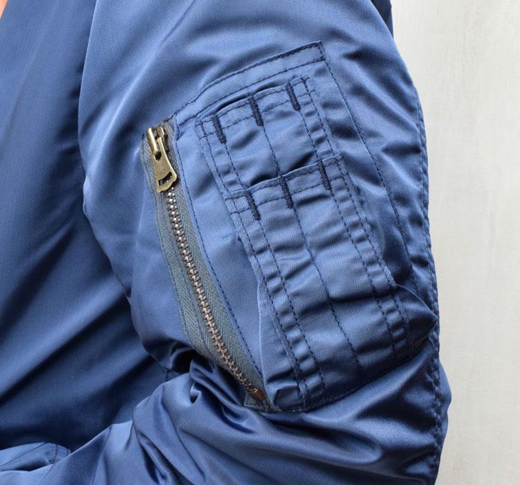 【メンズ】ブルーブルー(BLUE BLUE)2016年秋冬モデル インディゴナイロン MA1ジャケット 700059002のディテール詳細画像2