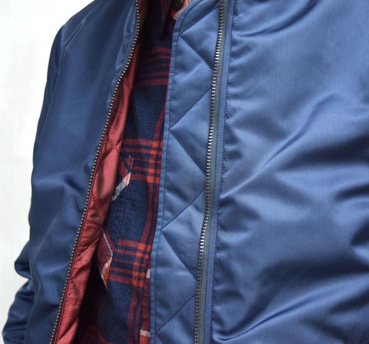【メンズ】ブルーブルー(BLUE BLUE)2016年秋冬モデル インディゴナイロン MA1ジャケット 700059002のディテール詳細画像5