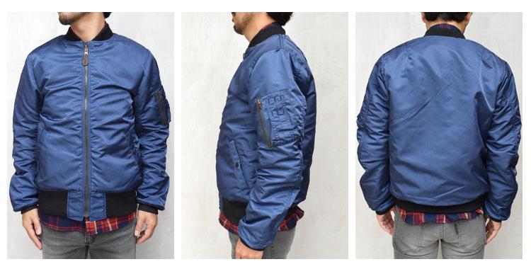 【メンズ】ブルーブルー(BLUE BLUE)2016年秋冬モデル インディゴナイロン MA1ジャケット 700059002の前横後ろ画像