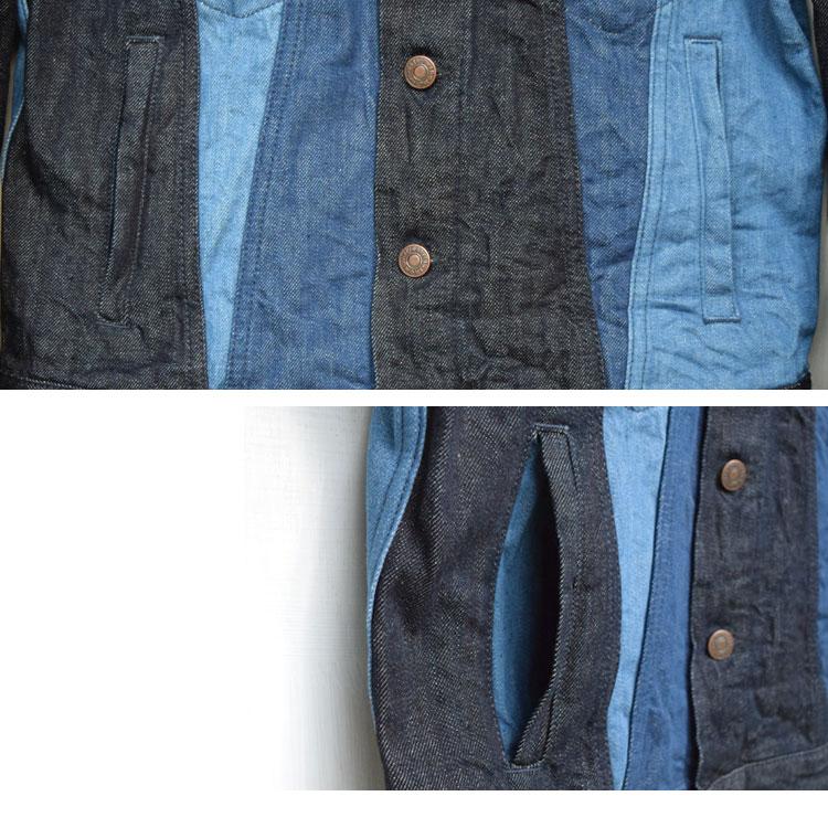 【メンズ】ブルーブルー(BLUE BLUE)2017年春夏モデル マルチデニム パネルGジャケット 700059990のディテール詳細画像4