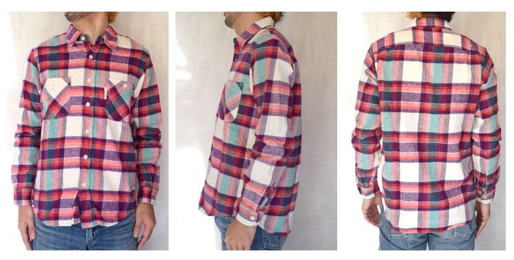 【メンズ】ハリウッドランチマーケット(HOLLYWOOD RANCH MARKET)2017年春夏モデル スプリングネルチェック ワークシャツ 700060019の前横後ろ画像
