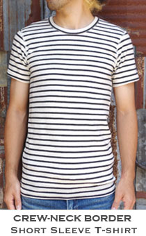 ストレッチフライス メンズ クルーネックボーダー半袖Tシャツ