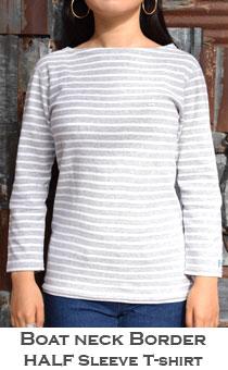 ストレッチフライス レディース ボートネックボーダー七分袖Tシャツ