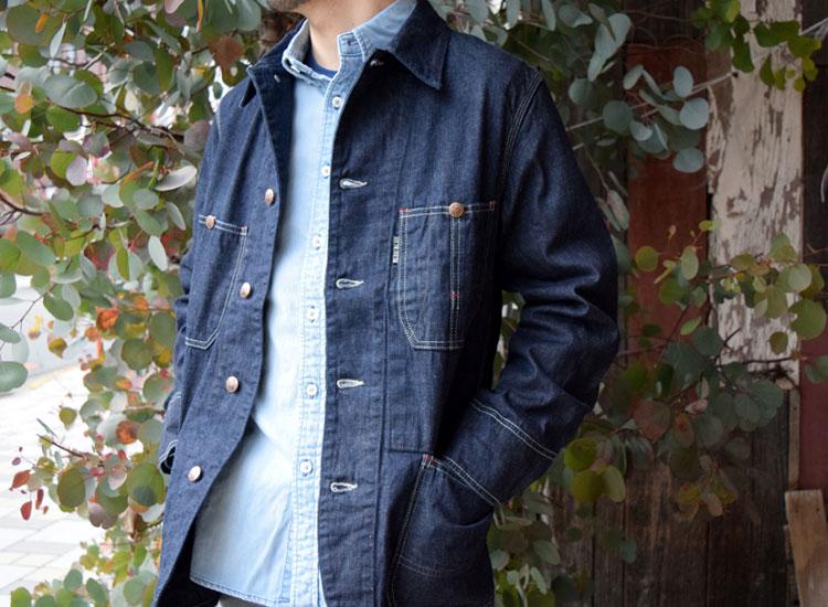 ブルーブルー(BLUEBLUE)2017年秋冬モデル ライトデニム スタンダードカバーオールジャケット DJ メイン画像