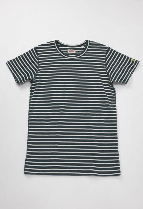 画像1: ハリウッドランチマーケット 『ストレッチフライスボーダーショートスリーブTシャツ カラー:D GREEN』  (1)