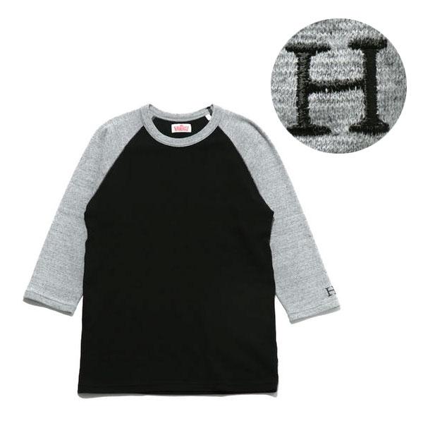 画像1: ハリウッドランチマーケット 『ストレッチフライス 2トーンハーフスリーブTシャツ カラー:D(BLK×GREY)』 (1)