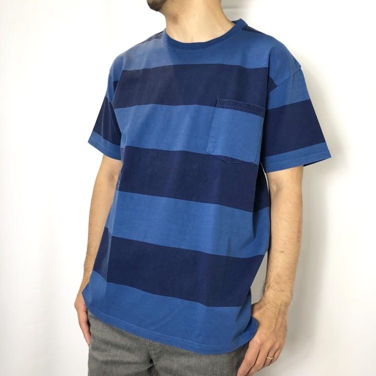 画像2: 【メンズ】ブルーブルー(BLUEBLUE)ピグメントボーダー ポケットTシャツ (2)