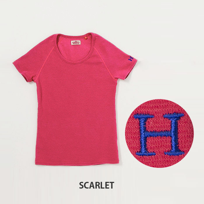画像1: 【全カラー・全サイズ展開】ハリウッドランチマーケット 『ストレッチフライス レディース UネックショートスリーヴTシャツ カラー:SCARLET』 (1)
