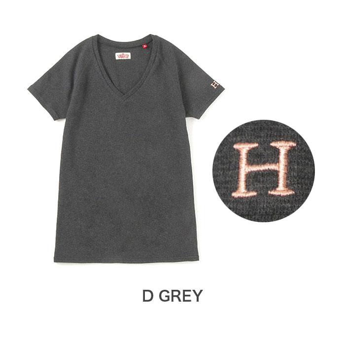 画像1: 【全カラー・全サイズ展開】ハリウッドランチマーケット 『ストレッチフライス レディース VネックショートスリーヴTシャツ カラー:D GREY』 (1)