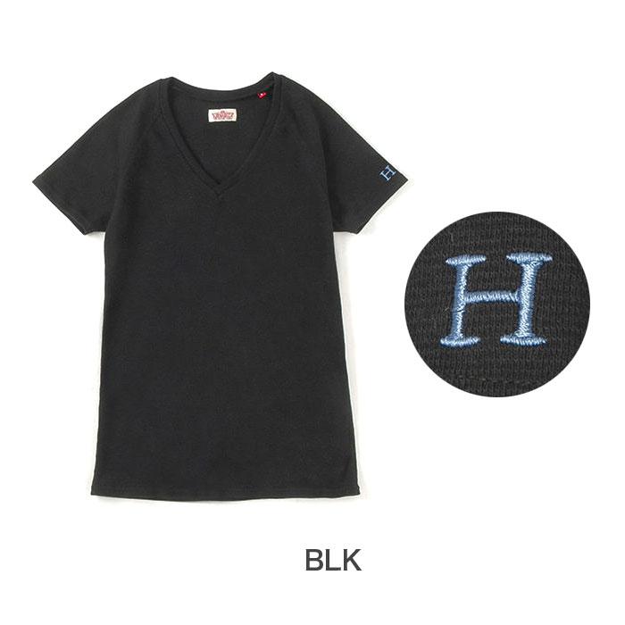 画像1: 【全カラー・全サイズ展開】ハリウッドランチマーケット 『ストレッチフライス レディース VネックショートスリーヴTシャツ カラー:BLK』 (1)