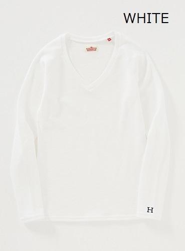 画像1: ハリウッドランチマーケット 『ストレッチフライス レディース VネックロングスリーヴTシャツ カラー:WHT』 (1)