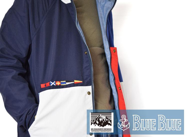 画像2: 【Lサイズのみ】【メンズ】マウントレイニアデザイン・ブルーブルー(MT.RAINIER DESIGN・BLUE BLUE)MRD・BLUE BLUE フラッグリバーシブルパーカ MRD (2)