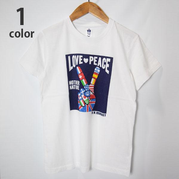 画像1: 【メンズ】ハリウッドランチマーケット(HOLLYWOOD RANCH MARKET)LOVE PEACE FLAG Tシャツ (1)