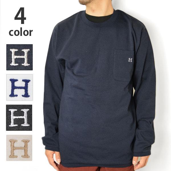 画像1: 【10/上 再入荷分予約】【メンズ】ハリウッドランチマーケット(HOLLYWOOD RANCH MARKET)Hエンブロイダリー ナローリブ ロングスリーブTシャツ (1)