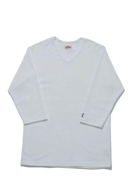 画像1: ハリウッドランチマーケット 『ストレッチフライス VネックハーフスリーヴTシャツ カラー:WHT』 (1)