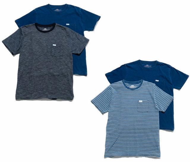 画像1: 【メンズ】フルーツオブザルーム・ブルーブルー(FRUIT OF THE LOOM・BLUE BLUE)2018年春夏モデル インディゴボーダー2パックTシャツ (1)