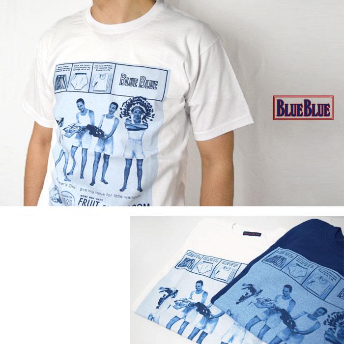 画像2: 【WHT Lサイズのみ】【メンズ】フルーツオブザルーム・ブルーブルー(FRUIT OF THE LOOM・BLUE BLUE)2018年春夏モデル FRUIT OF THE LOOM・BLUE BLUEアパッチプリントTシャツ (2)