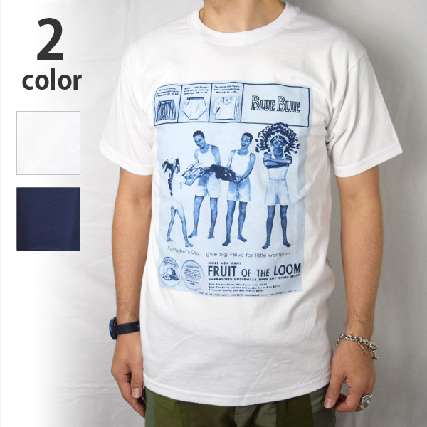画像1: 【WHT Lサイズのみ】【メンズ】フルーツオブザルーム・ブルーブルー(FRUIT OF THE LOOM・BLUE BLUE)2018年春夏モデル FRUIT OF THE LOOM・BLUE BLUEアパッチプリントTシャツ (1)