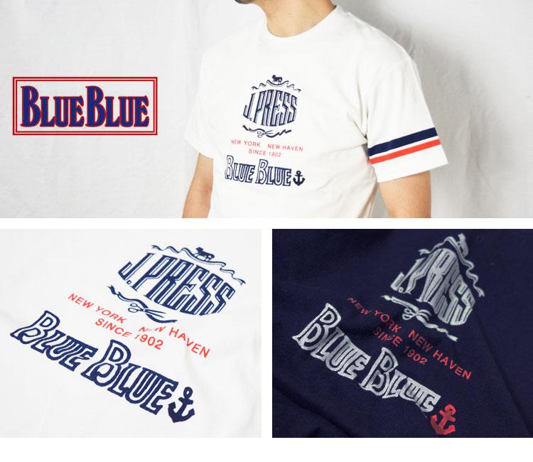 画像2: 【INDIGO Lサイズのみ】【メンズ】ジェイプレス・ブルーブルー(J PRESS・BLUE BLUE)2018年春夏モデル J PRESS・BLUE BLUE インディゴロゴTシャツ (2)