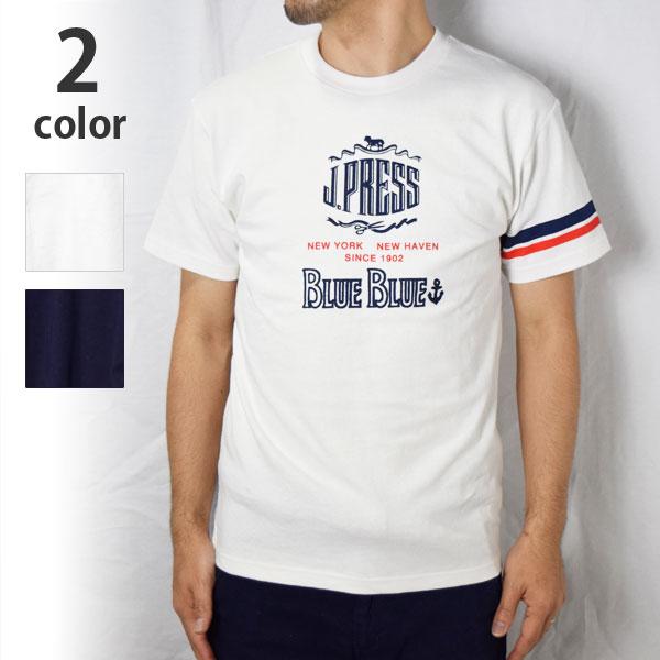 画像1: 【INDIGO Lサイズのみ】【メンズ】ジェイプレス・ブルーブルー(J PRESS・BLUE BLUE)2018年春夏モデル J PRESS・BLUE BLUE インディゴロゴTシャツ (1)
