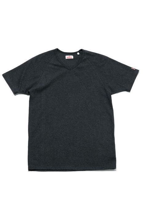 画像1: HOLLYWOOD RANCH MARKET 『ストレッチフライス VネックショートスリーヴTシャツ カラー:D GREY』 (1)
