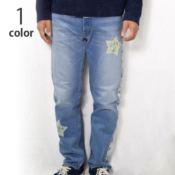 画像1: 【W31のみ】【メンズ】ブルーブルー(BLUE BLUE)2018年秋冬モデル セルビッチデニム スターラインユーズドジーンズ (1)