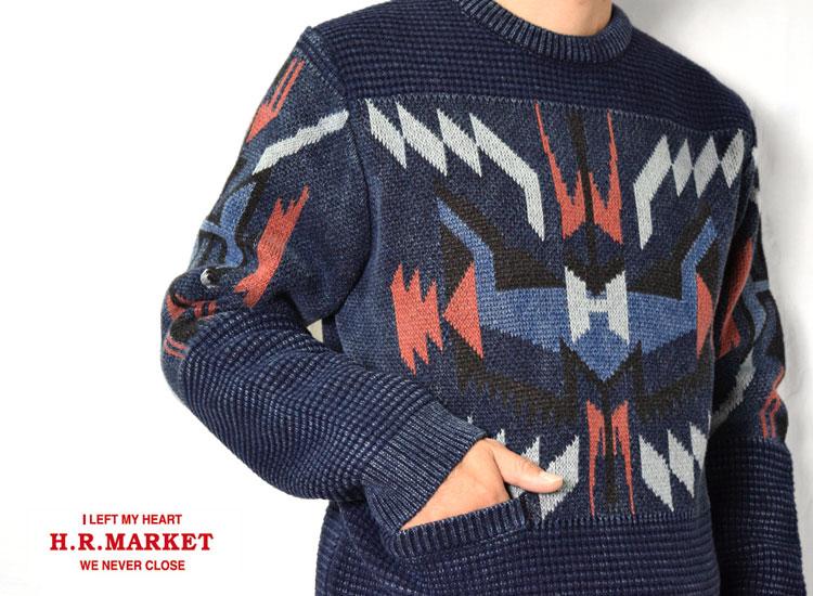 画像2: 【メンズ】ハリウッドランチマーケット(HOLLYWOOD RANCH MARKET)2018年秋冬モデル インディゴHアロー チマヨクルーネックニット  (セーター) (2)