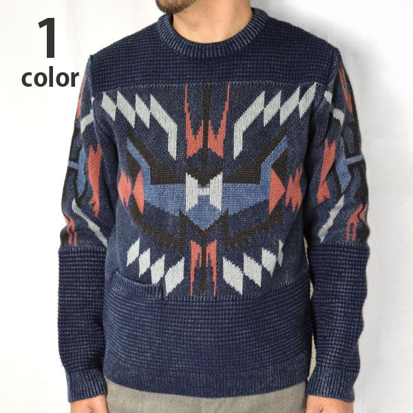 画像1: 【メンズ】ハリウッドランチマーケット(HOLLYWOOD RANCH MARKET)2018年秋冬モデル インディゴHアロー チマヨクルーネックニット  (セーター) (1)