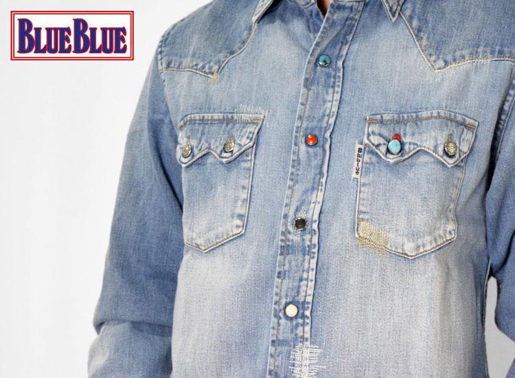 画像2: 【メンズ】ブルーブルー(BLUEBLUE)ライトデニム オールドスクール ウエスタンシャツ (2)