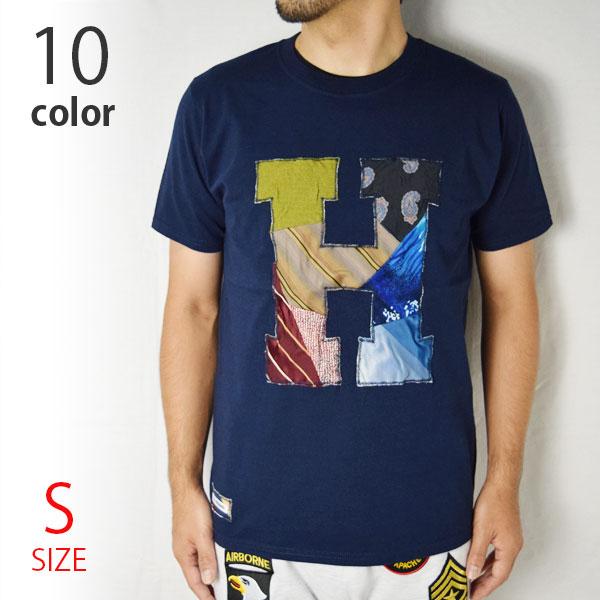 画像1: 【当店別注モデル】【メンズ・レディース】エイチアールリメイク×ラスティートゥーシャイン(H.R.REMAKE×RUSTY TO SHINE) 2018秋冬モデル USED TIE PTW H PATCH Tシャツ サイズ:S (1)