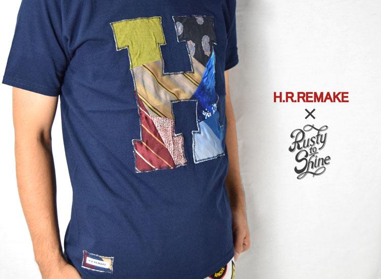 画像2: 【当店別注モデル】【メンズ・レディース】エイチアールリメイク×ラスティートゥーシャイン(H.R.REMAKE×RUSTY TO SHINE) 2018秋冬モデル USED TIE PTW H PATCH Tシャツ サイズ:XL (2)