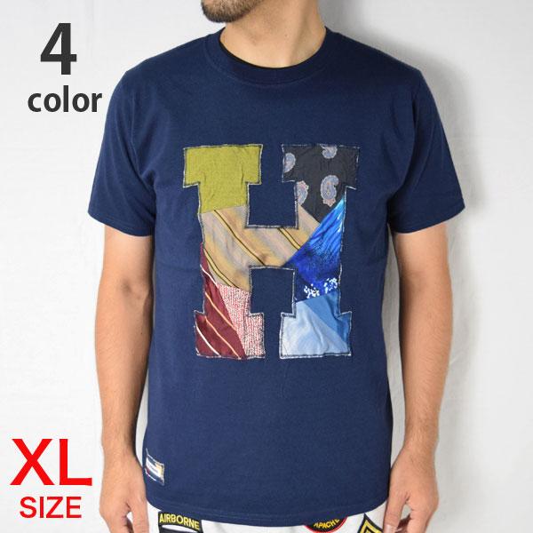 画像1: 【当店別注モデル】【メンズ・レディース】エイチアールリメイク×ラスティートゥーシャイン(H.R.REMAKE×RUSTY TO SHINE) 2018秋冬モデル USED TIE PTW H PATCH Tシャツ サイズ:XL (1)
