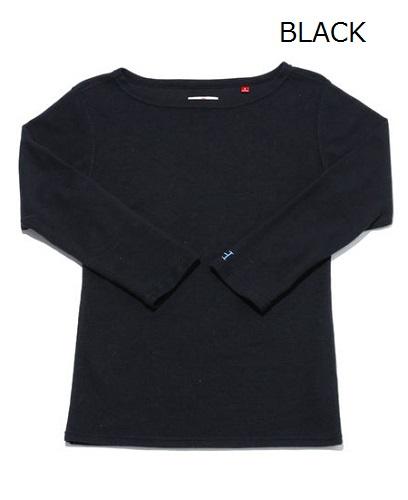 画像1: ハリウッドランチマーケット 『ストレッチフライス レディース ボートネック ハーフスリーブTシャツ カラー:BLK』 (1)