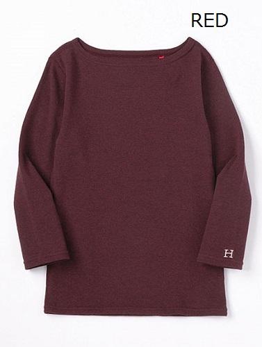 画像1: ハリウッドランチマーケット 『ストレッチフライス レディース ボートネック ハーフスリーブTシャツ カラー:RED』 (1)